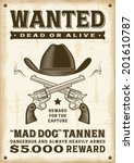 vintage western wanted poster.... | Shutterstock .eps vector #201610787