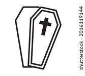 halloween coffin outline icon...