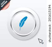 feather sign icon. retro pen...