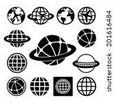 globe earth vector icons set   | Shutterstock .eps vector #201616484