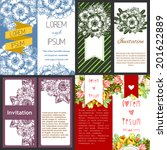set of invitations with floral...   Shutterstock .eps vector #201622889
