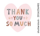 hand drawn lettering thank you... | Shutterstock .eps vector #2016256481