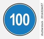 100 minimum speed limit blue... | Shutterstock .eps vector #2016326657