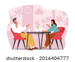 young happy couple sitting at... | Shutterstock .eps vector #2016404777