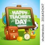 happy teacher's day banner or...   Shutterstock .eps vector #2016424247