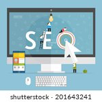 seo vector concept with mobile... | Shutterstock .eps vector #201643241