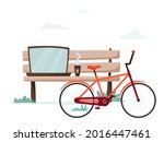 bench with laptop  coffee and...   Shutterstock .eps vector #2016447461
