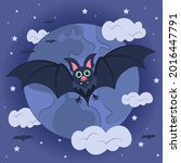 background bat and moon with...   Shutterstock .eps vector #2016447791