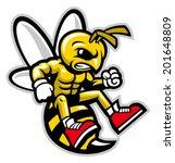 hornet mascot - stock vector
