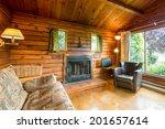 Cozy Interior Of A Rustic Log...