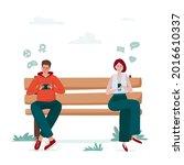 gadget addiction  man and woman ...   Shutterstock .eps vector #2016610337
