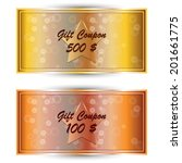vector set gold gift coupon ... | Shutterstock .eps vector #201661775