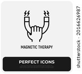 magnetic therapy thin line icon ... | Shutterstock .eps vector #2016626987