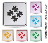 set of colorful square button... | Shutterstock .eps vector #201665969