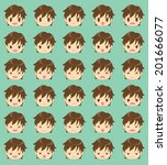 facial expression of the boy | Shutterstock .eps vector #201666077