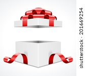 open gift box and with red bow... | Shutterstock .eps vector #201669254
