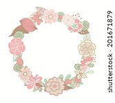 floral frame for birthday cards ... | Shutterstock .eps vector #201671879