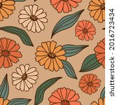 retro style floral seamless... | Shutterstock .eps vector #2016723434