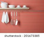 white plates on the shelf ... | Shutterstock . vector #201673385