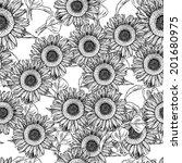 sketch sunflower  vector... | Shutterstock .eps vector #201680975