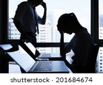 silhouettes of depressed... | Shutterstock . vector #201684674