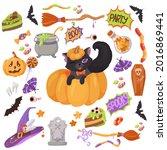 black kitten. candy  costumes ... | Shutterstock .eps vector #2016869441