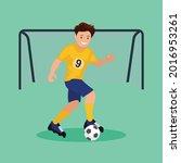 football player  kicks the ball....   Shutterstock .eps vector #2016953261