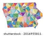 kid style map of iowa. hand...   Shutterstock .eps vector #2016955811