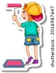 sticker template with a boy... | Shutterstock .eps vector #2016987647