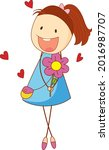 a doodle kid holding flower... | Shutterstock .eps vector #2016987707