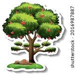 apple tree sticker on white... | Shutterstock .eps vector #2016987887