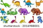 different dinosaurs cartoon... | Shutterstock .eps vector #2016988001