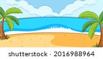 empty beach scene with coconut... | Shutterstock .eps vector #2016988964