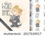 cute animal baby kitten with...   Shutterstock .eps vector #2017018517