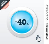 40 percent discount sign icon....