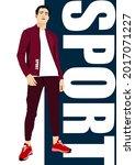 young handsome sportsman....   Shutterstock .eps vector #2017071227