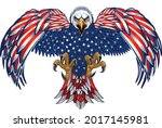 american eagle with usa flags | Shutterstock .eps vector #2017145981