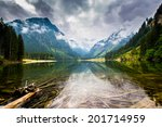 mountain and lake in high alps... | Shutterstock . vector #201714959