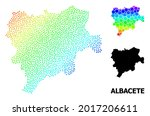 Wire frame polygonal and solid map of Albacete Province. Vector structure is created from map of Albacete Province with red stars. Abstract lines and stars are combined into map of Albacete Province.