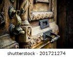 Wooden Old Door Handle Fish...