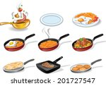 collection of icons of a frying ... | Shutterstock .eps vector #201727547