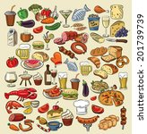 vector hand drawn color food on ... | Shutterstock .eps vector #201739739