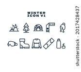 winter line icon vector...