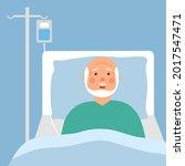 a sick senior man in medical... | Shutterstock .eps vector #2017547471
