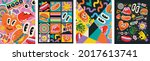 abstract shapes  funny comic...   Shutterstock .eps vector #2017613741