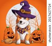 welsh corgi in halloween... | Shutterstock .eps vector #2017627724