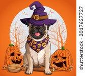 pug dog in halloween disguise... | Shutterstock .eps vector #2017627727