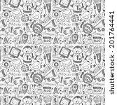 seamless doodle communication... | Shutterstock .eps vector #201764441