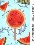 Watermelon Slice On Ice Cream...