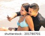 romantic selfie on the beach | Shutterstock . vector #201780701
